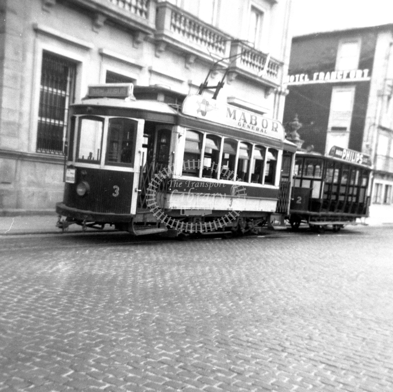 Braga Transport Tram Strassenbahn 3  in 1952 at Braga