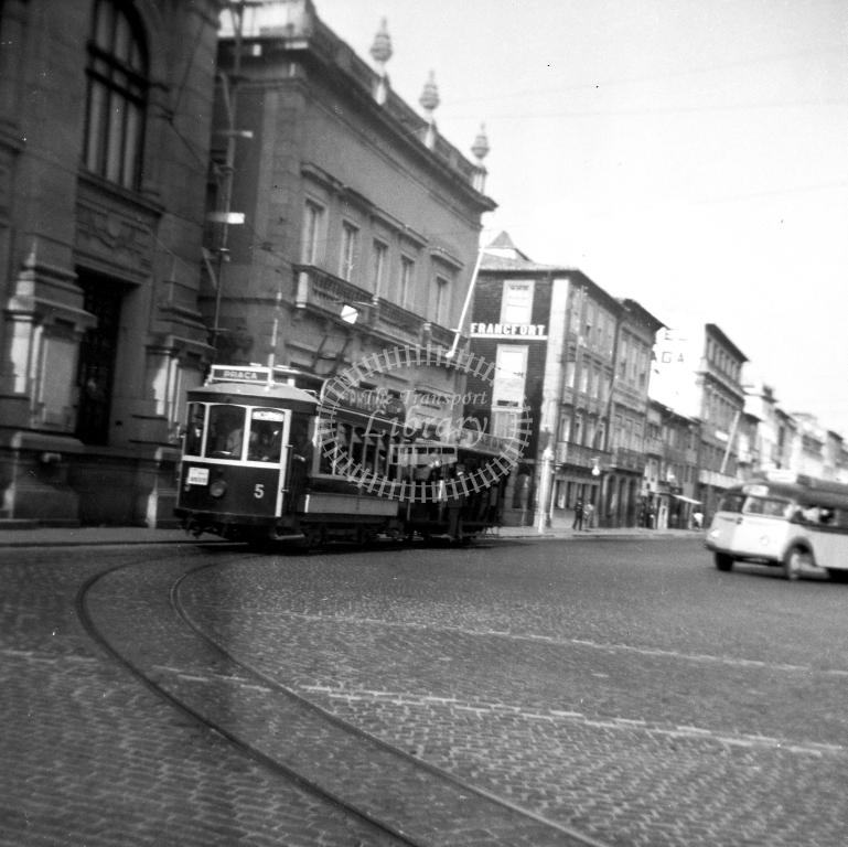 Braga Transport Tram Strassenbahn 5  in 1952 at Braga