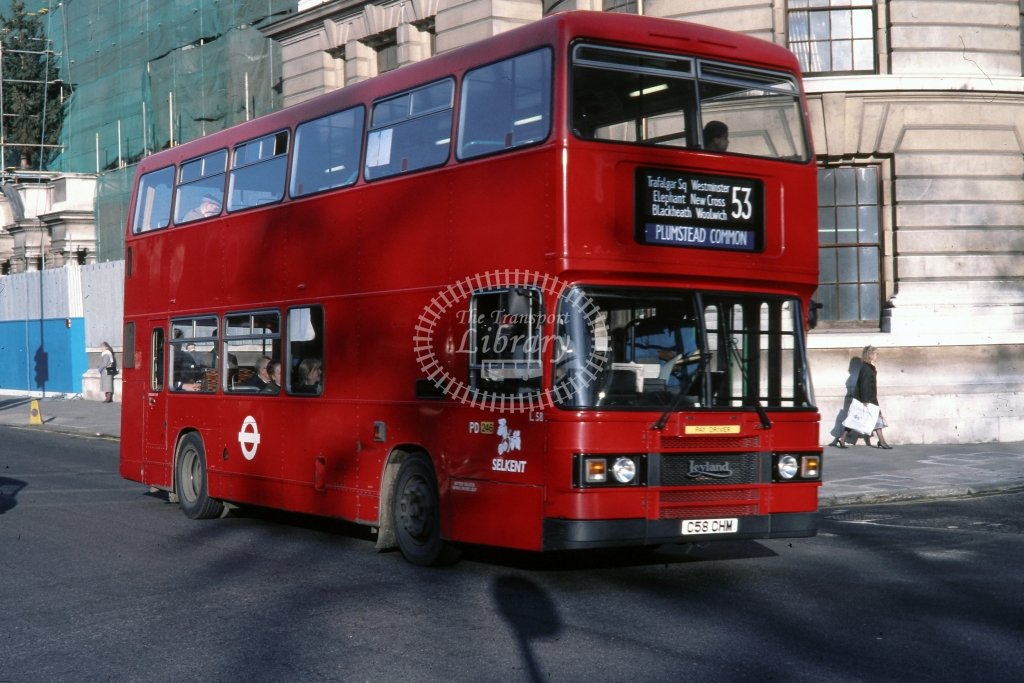 London Transport Leyland Olympian L58 C58CHM  on route 53  at Whitehall   in 1988 -  12/12/1988 - Andre Liscott Collection