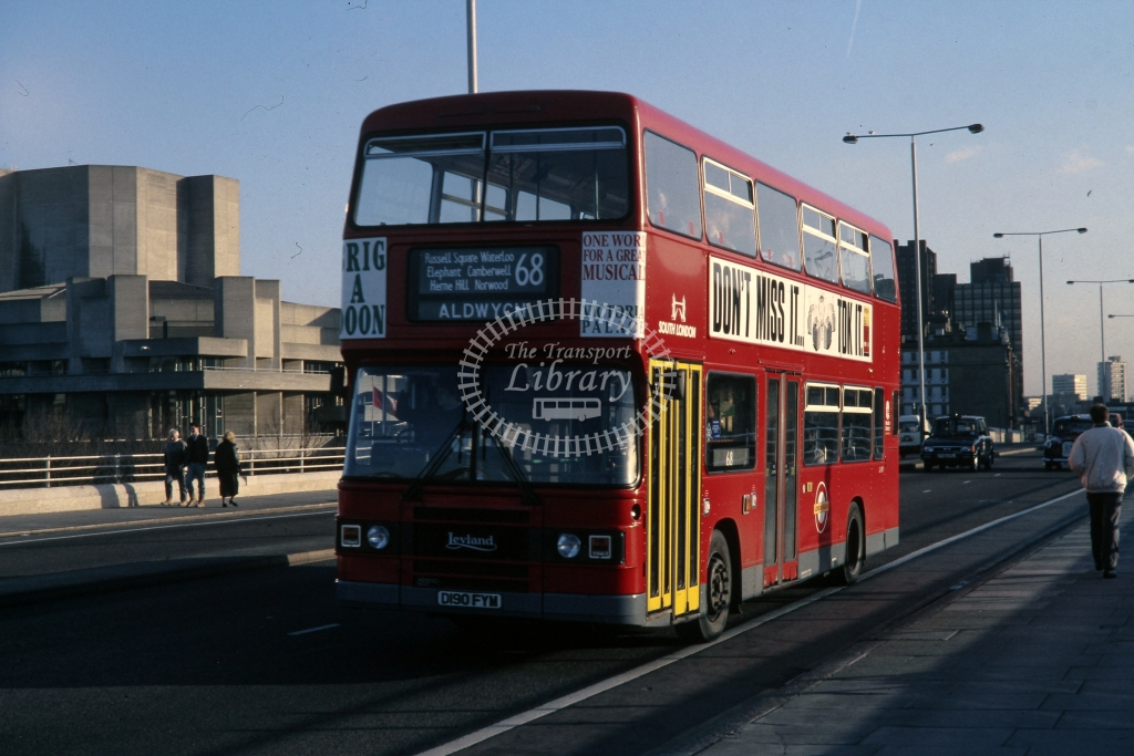 London Transport Leyland Olympian L190 D190FYM  on route 68  at Waterloo  in 1988 -  12/12/1988 - Andre Liscott Collection