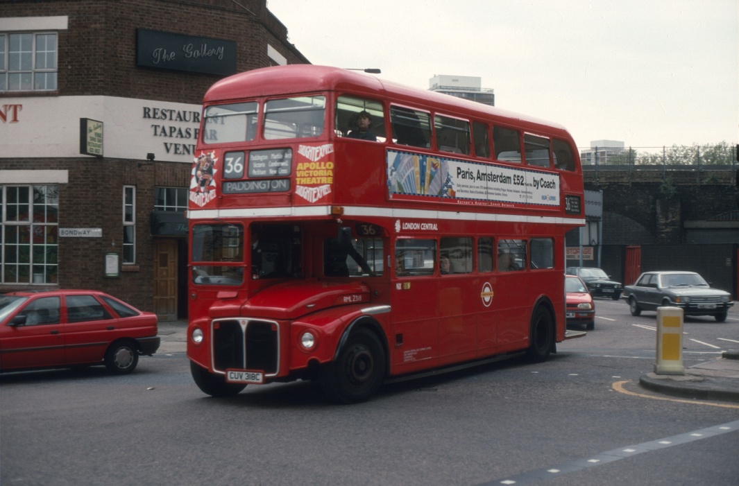 London Transport AEC AEC Routemaster Class RML RML2318 CUV318C at Vauxhall in 1994 on route 36 - May 1994 - Cliff Essex Collection