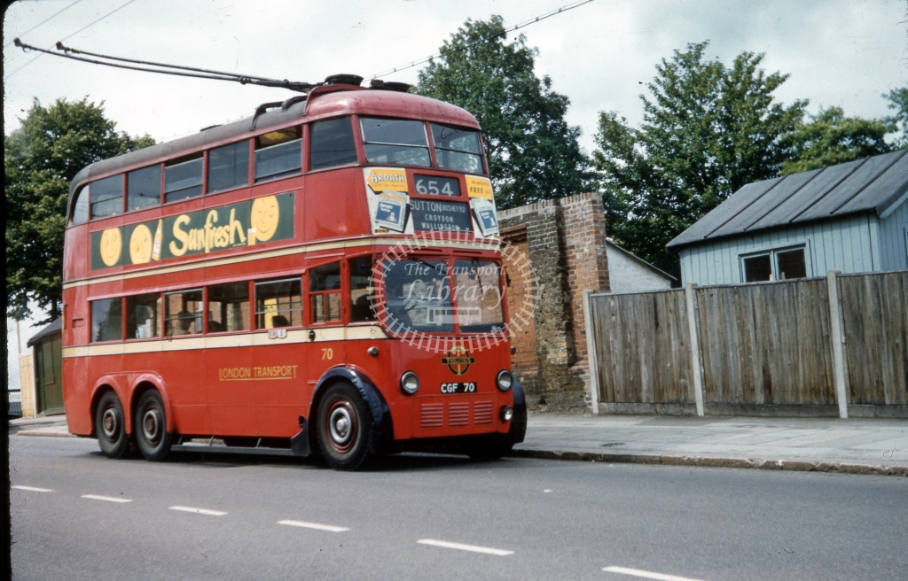 CGF70 London Transport 70 Leyland TTB60 BRCW Route 654  Crystal Palace July 1958  Cliff Essex