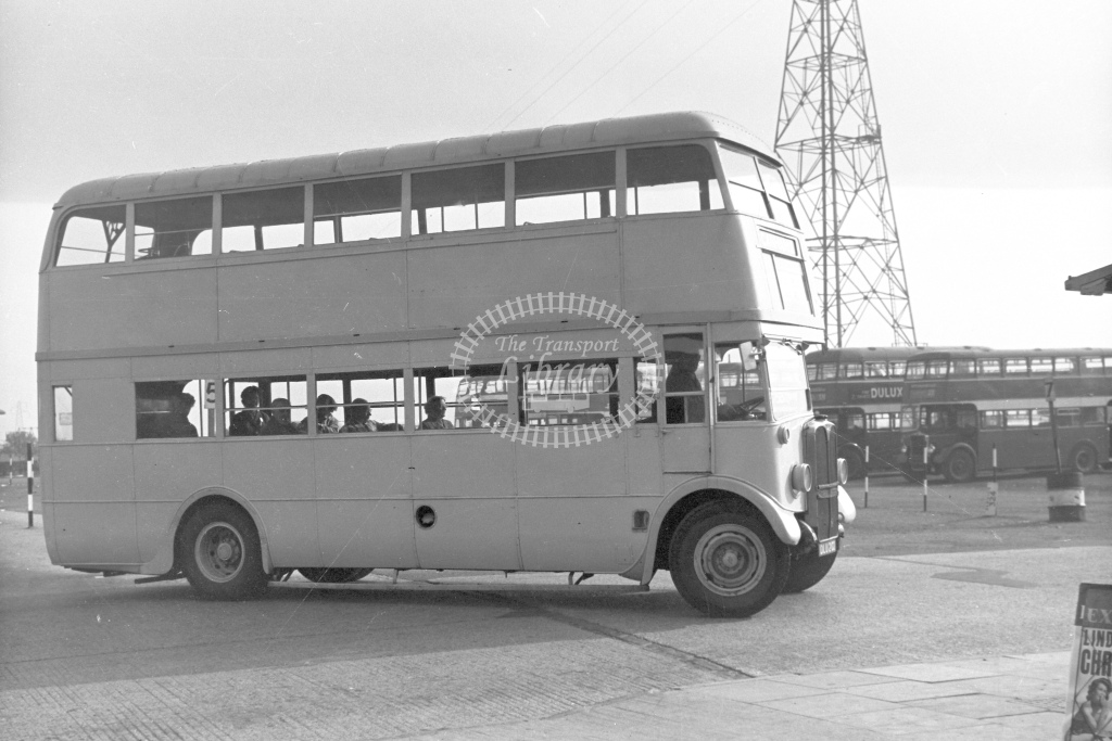 Broadside view of double deck bus. No identity or location - H Cartwright - CW10163