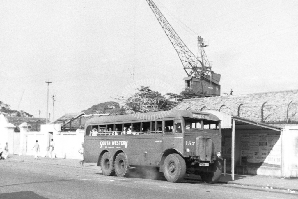 Foreign 3 axle bus converted from lorry. South Western is company name - H Cartwright - CW10238