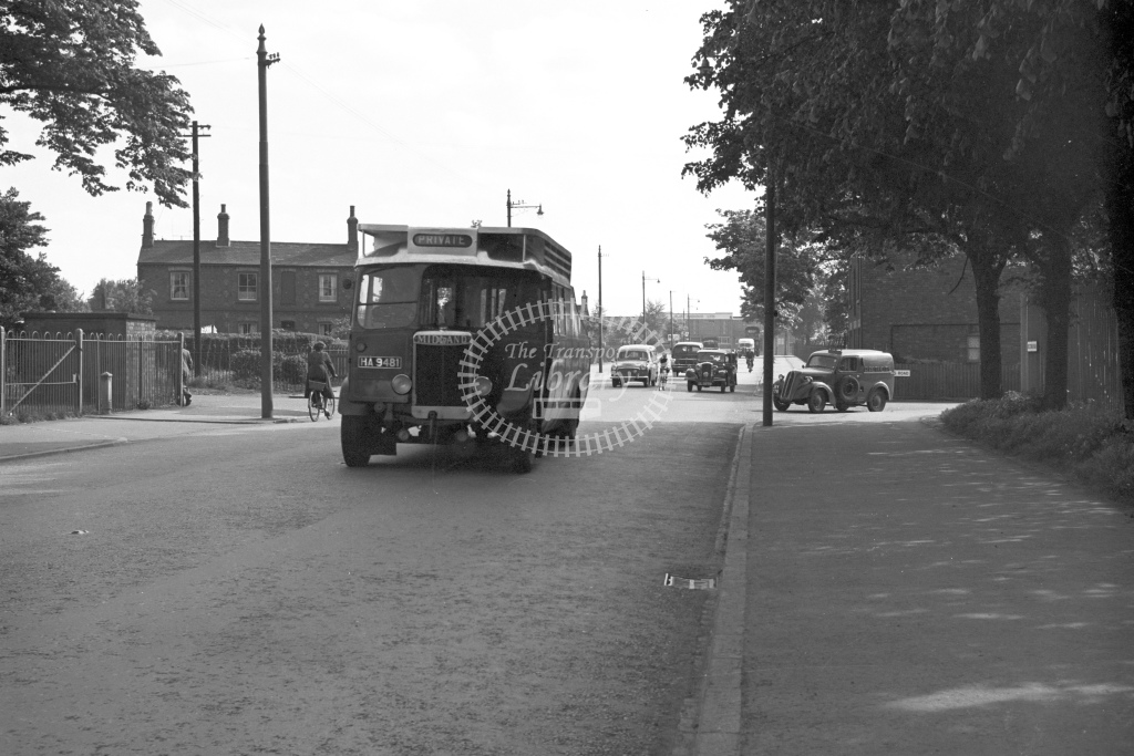 Midland Red single decker bus Reg No.HA 9481 with a private hire service in street scene - H Cartwright - CW10707