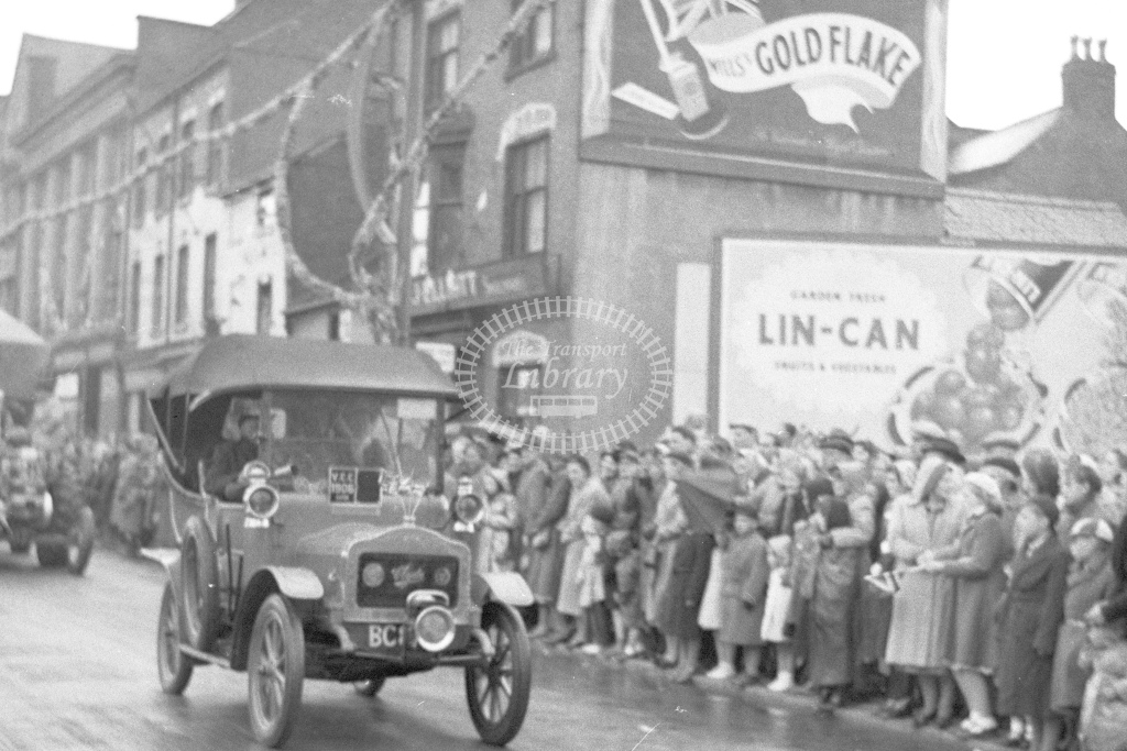 Coronation(?) celebrations 1953(?). Car parade in Leicester(?). Leicester