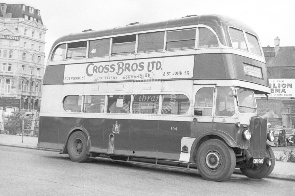 City of Cardiff double deck trolley bus 194 Reg.CBO703 - H Cartwright - CW10909