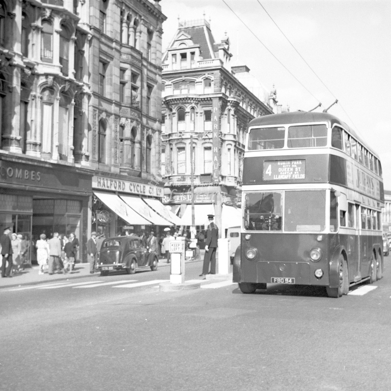 City of Cardiff doulble deck trolley bus Reg.FBO90 - H Cartwright - CW10911