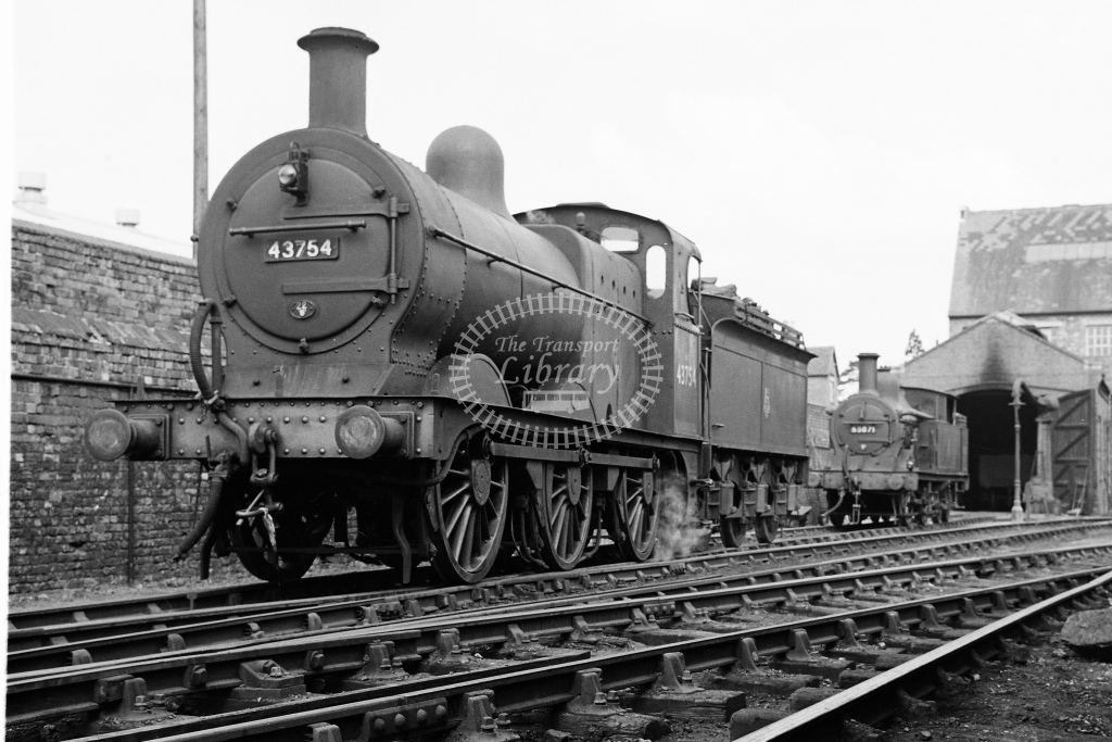 BR ex MR 3F 0-6-0 No.43754 and 1P 0-4-4T No.58071 at Tewkesbury shed - H Cartwright - CW11545