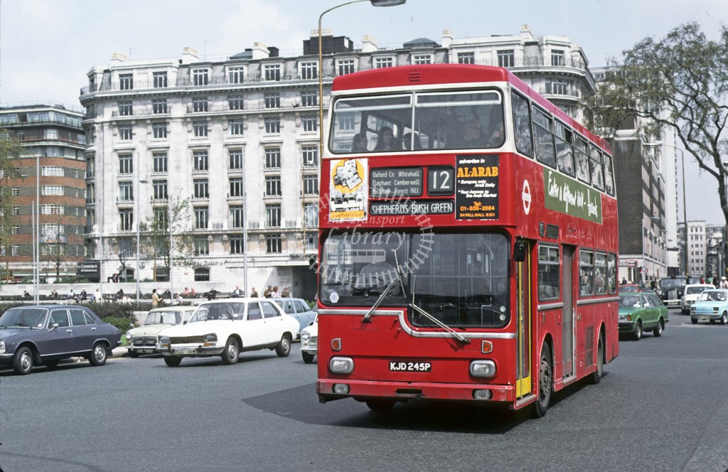 London Transport Scania BR111 MD 45 KJD245P  at Marble Arch, 12  in 19 - Geoffrey Morant