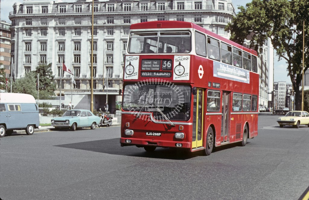 London Transport Scania BR111 MD 66 KJD266P  at Marble Arch, 36  in 19 - Geoffrey Morant