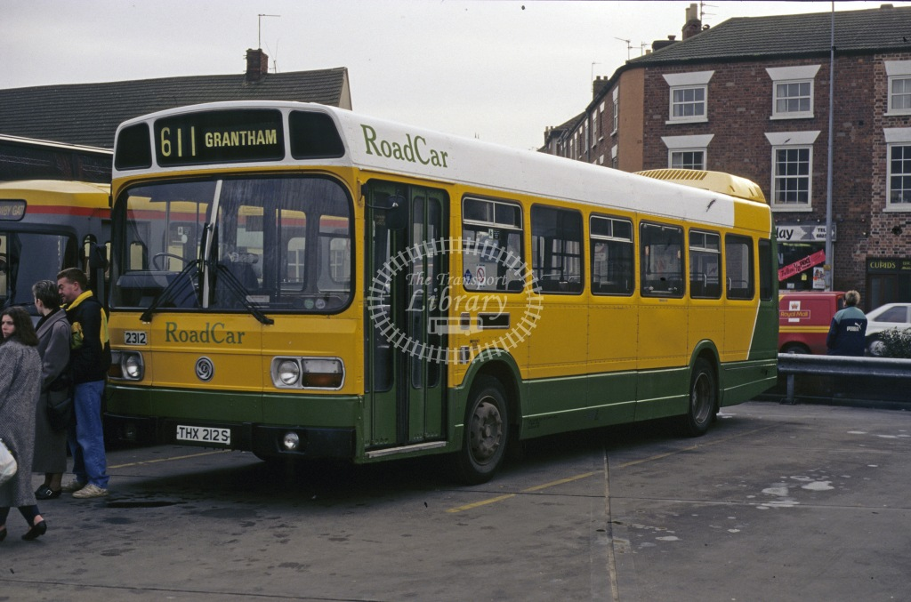 Lincolnshire Road Car Leyland National THX212S at Grantham in 1994 - Aug-94 - Geoffrey Morant