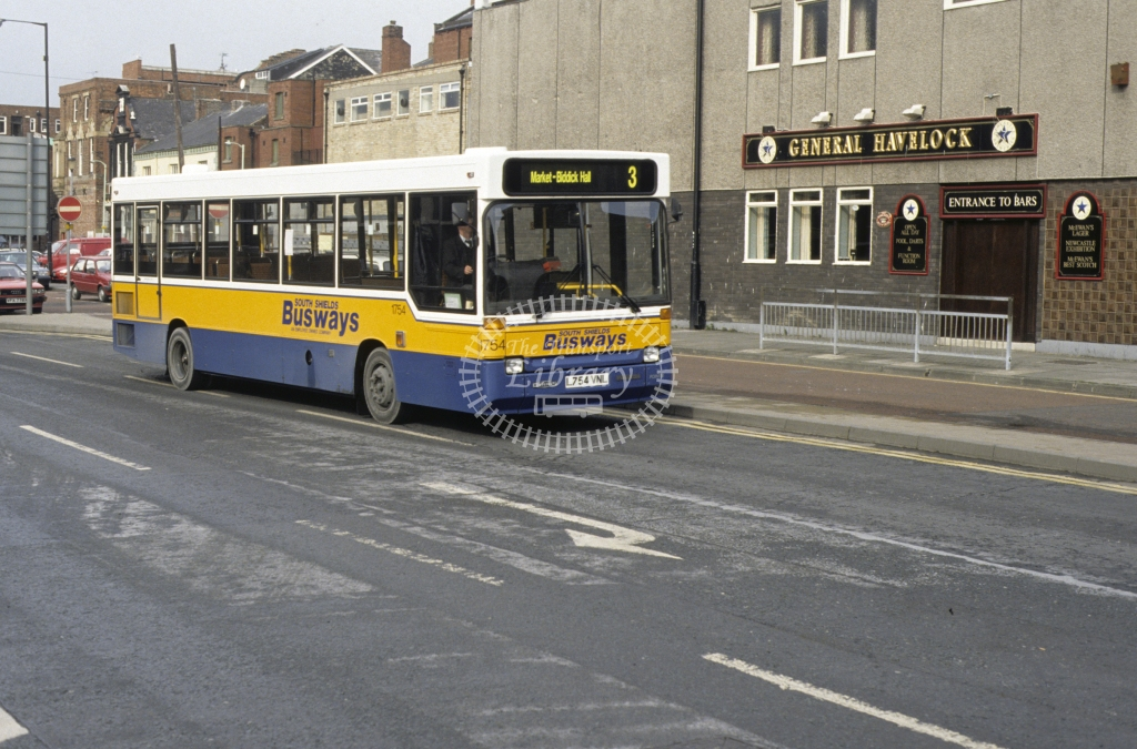 Busways Dennis Dart 1754 L754VNL  at S Shields  in 1994 -  Apr-94  - Geoffrey Morant
