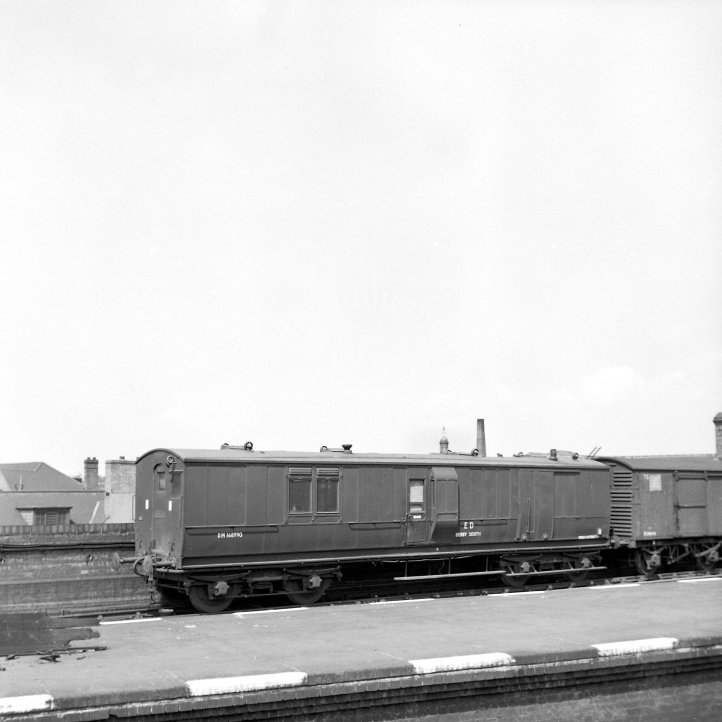 British Railways Rolling stock DM168990  Class Ex-LNWR guards van - Derby South Engineers Dept  at Leicester Central  in 1963 - Brake van -  15/06/1963 - Horace Gamble