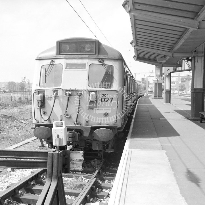 British Rail Electric Multiple Unit 304027  Class BR AM4 Class 304 EMU-3  at Stoke-on-Trent  in 1990 - Manchester Piccadilly service