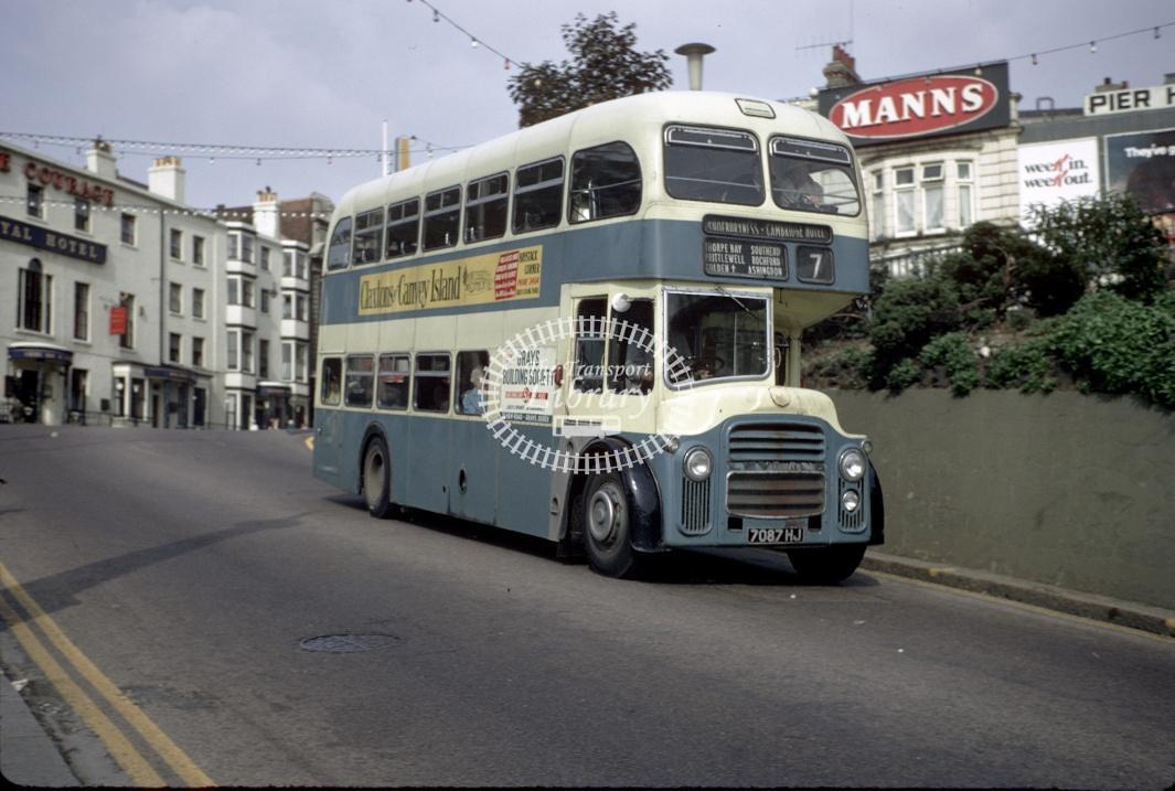 Southend Albion LR7 323 7087HJ at Southend Pier Hill in 1969 - Sep-69 - Harry Hay