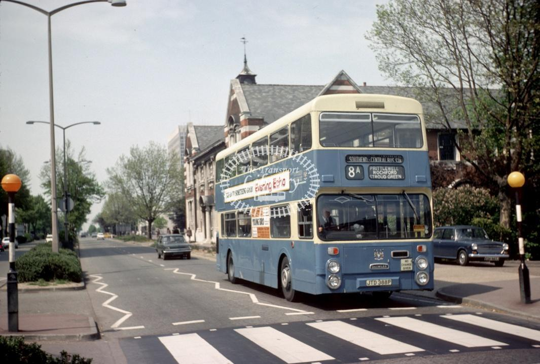 Southend Daimler CRL6 388 JTD388P at Southend Victoria Circus in 1977 - May-77 - Harry Hay