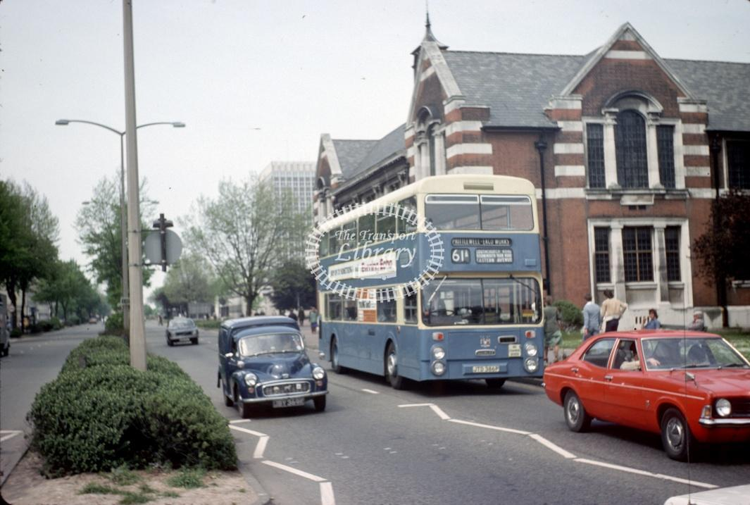 Southend Daimler CRL6 386 JTD386P at Victoria Circus in 1977 - May-77 - Harry Hay