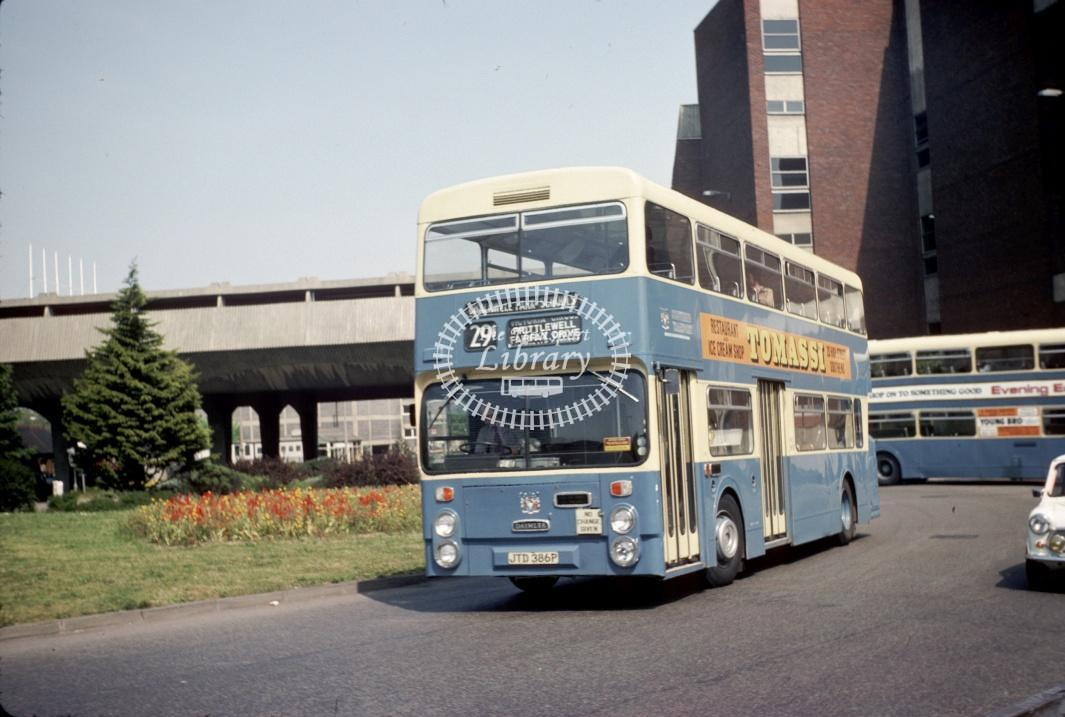 Southend Daimler CRL6 386 JTD386P at Southend Victoria Circus in 1977 - May-77 - Harry Hay