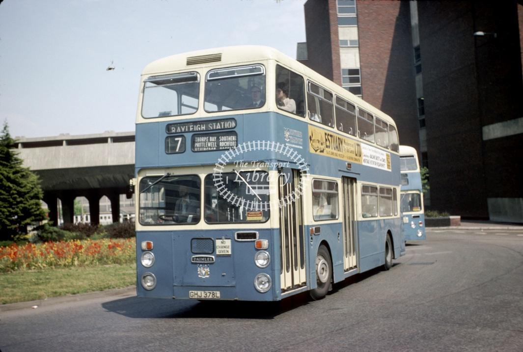 Southend Daimler CRL6 378 GHJ378L at Southend Victoria Circus in 1977 - May-77 - Harry Hay