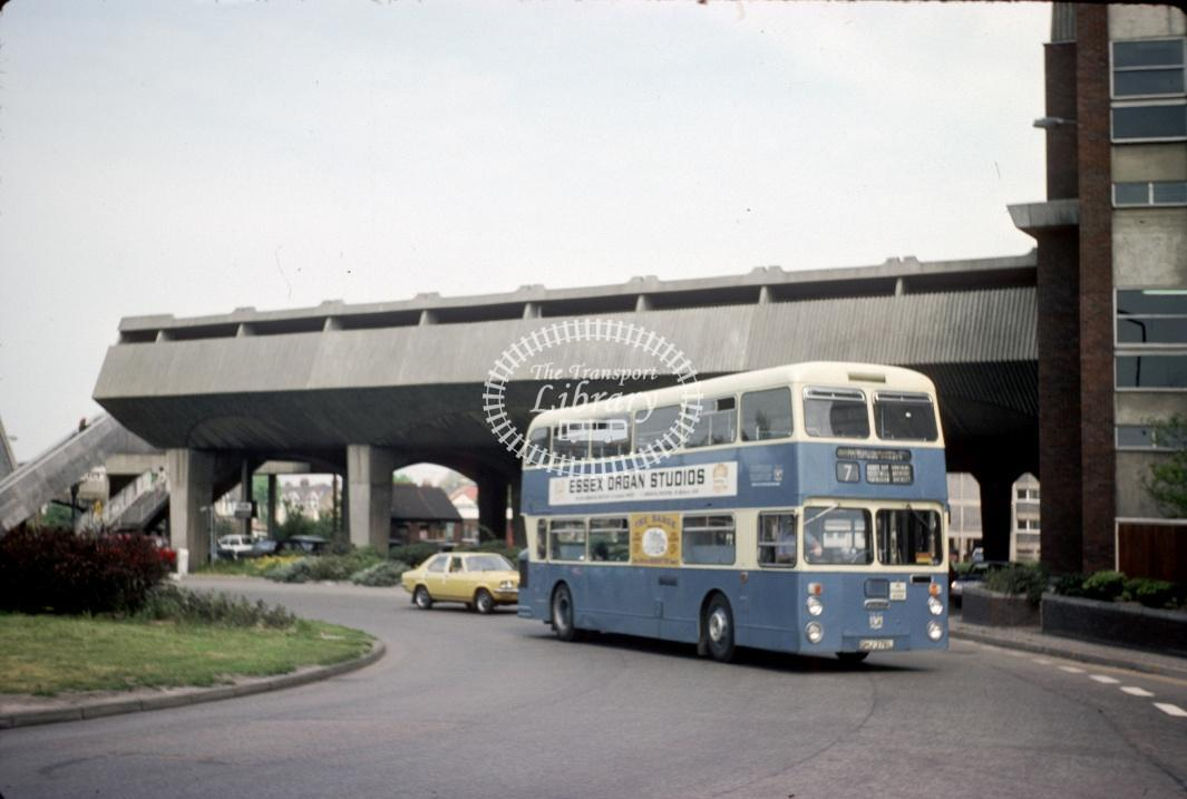 Southend Daimler CRL6 379 GHJ379L at Southend Victoria Circus in 1977 - May-77 - Harry Hay