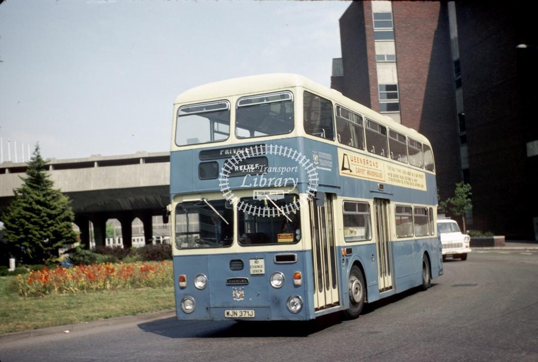 Southend Daimler CRL6 371 WJN371J at Southend Victoria Circus in 1977 - May-77 - Harry Hay