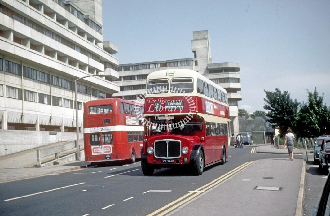 Southampton AEC Regent V 384 JCR384E at Southampton Central Rly Stn in 1978 - Jul-78 - Harry Hay