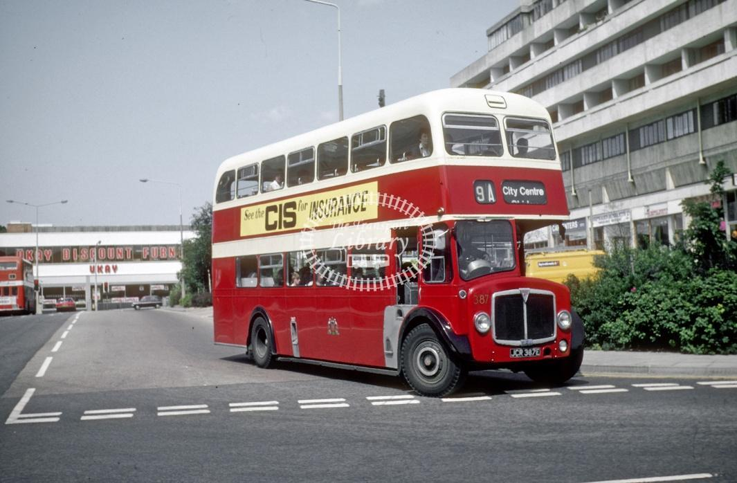 Southampton AEC Regent V 387 JCR387E at Southampton Central Rly Stn in 1978 - Jul-78 - Harry Hay