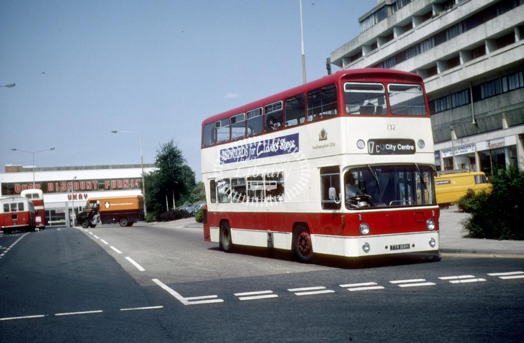 Southampton Leyland PDR1A/1 132 TTR166H at Southampton Central Rly Stn in 1978 - Jul-78 - Harry Hay