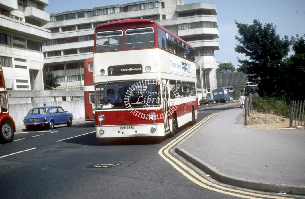 Southampton Leyland AN68 166 EOW399L at Southampton Central Rly Stn in 1978 - Jul-78 - Harry Hay