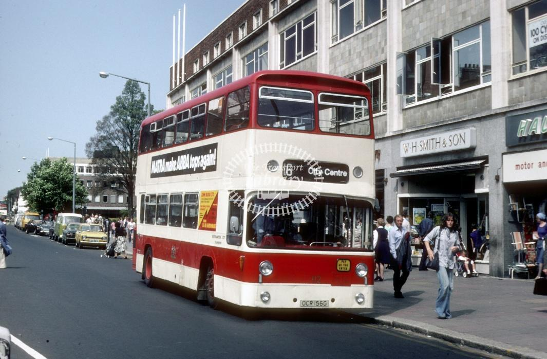 Southampton Leyland PDR1/1 112 OCR156G at Southampton City Centre in 1978 - Jul-78 - Harry Hay