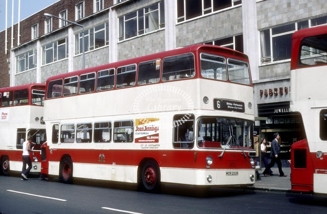 Southampton Leyland AN68 203 MCR203R at Southampton City Centre in 1978 - Jul-78 - Harry Hay