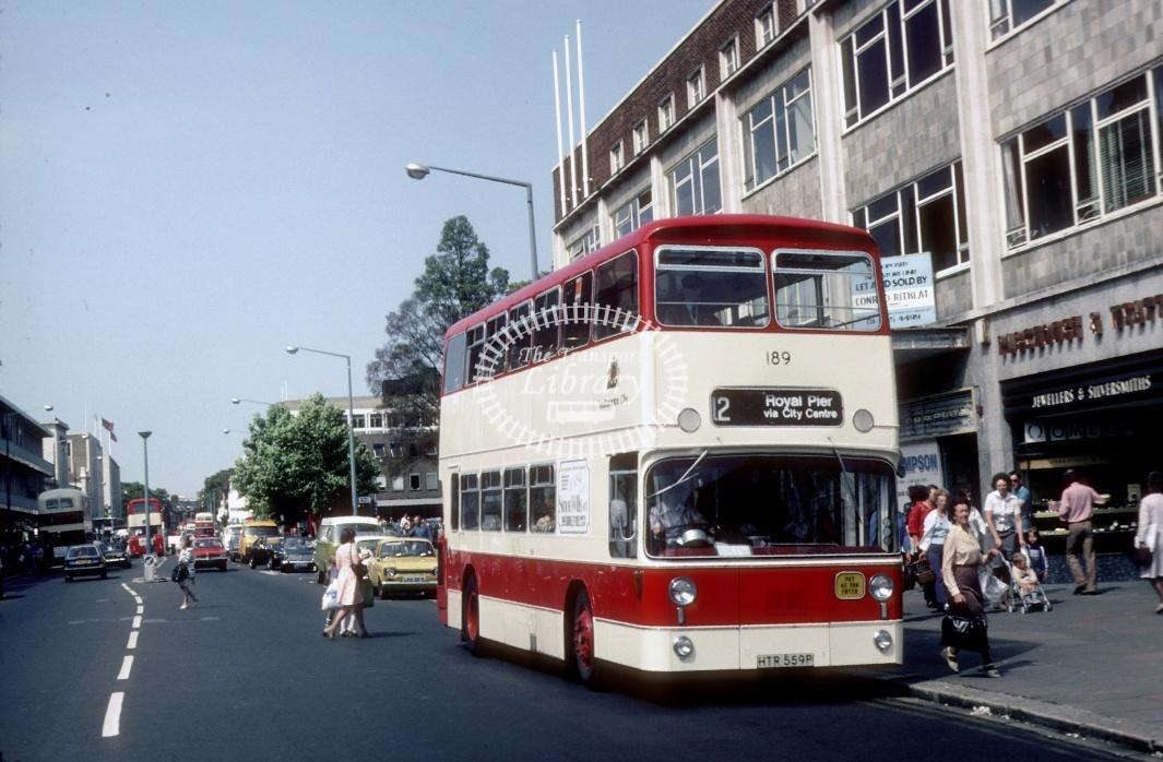 Southampton Leyland AN68 189 HTR559P at Southampton City Centre in 1978 - Jul-78 - Harry Hay