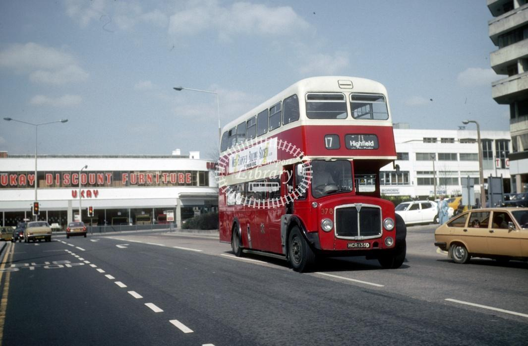 Southampton AEC Regent V 378 HCR135D at Southampton Central Rly Stn in 1979 - Apr-79 - Harry Hay