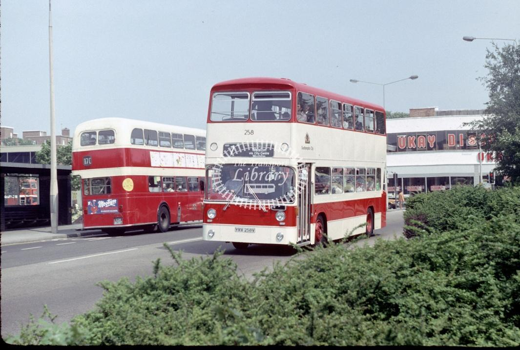 Southampton Leyland AN68 258 YRV258V at Southampton Central Rly Stn in 1980 - 29373 - Harry Hay