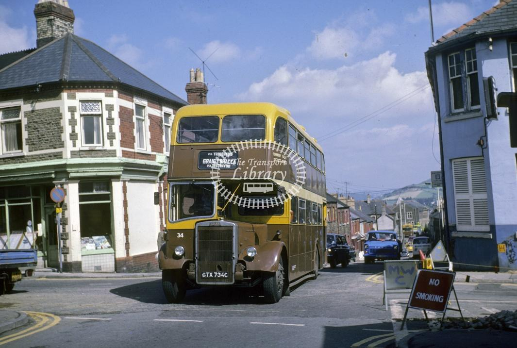 Rhymney Valley Leyland PD3/4 34 GTX734C at Caerphilly area in 1978 - Jul-78 - Harry Hay
