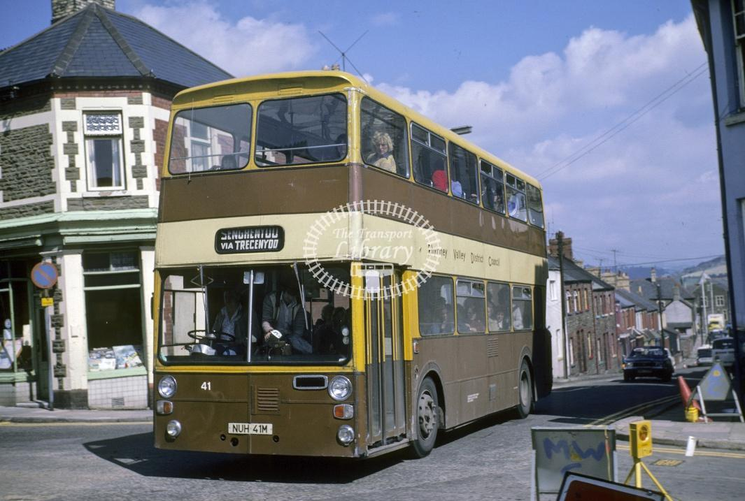 Rhymney Valley Leyland AN68 41 NUH41M at Caerphilly area in 1978 - Jul-78 - Harry Hay