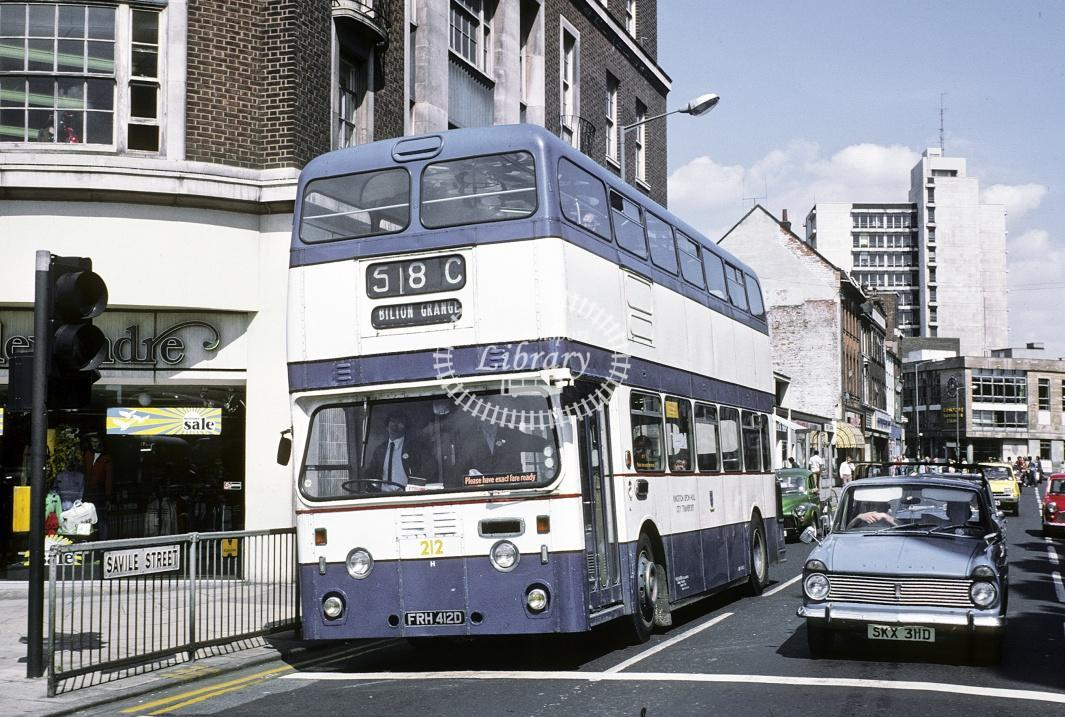 Hull Leyland PDR1/1 212 FRH412E at Hull Saville in 1978 - Jul-78 - Harry Hay