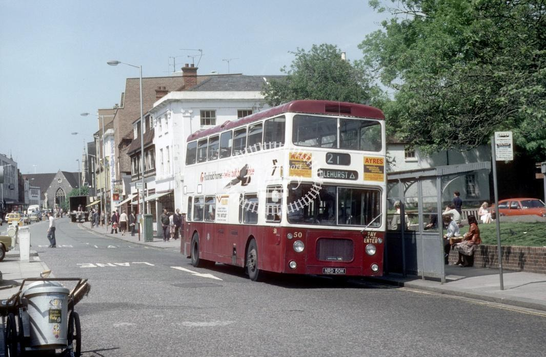 Reading Bristol VRTSL 50 NDP50R at Reading Town centre in 1980 - 29373 - Harry Hay