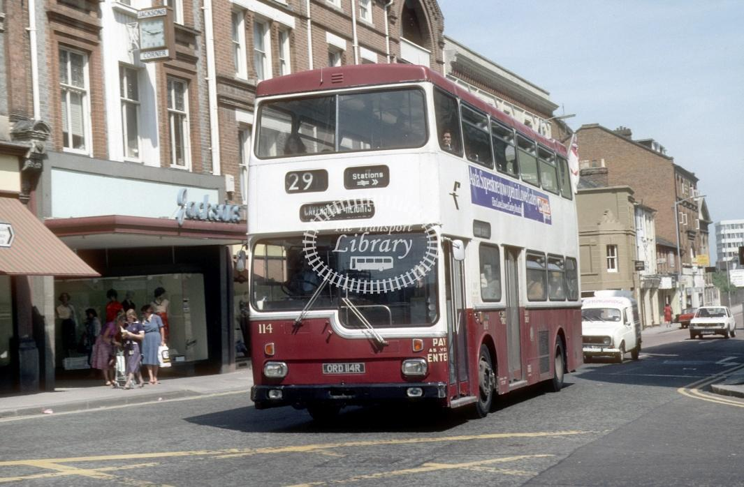 Reading Scania BR111 114 ORD114R at Reading Town centre in 1980 - 29373 - Harry Hay