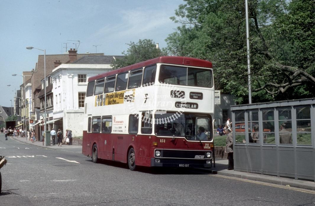 Reading MCW DR102/8 151 WRD151T at Reading Town centre in 1980 - 29373 - Harry Hay
