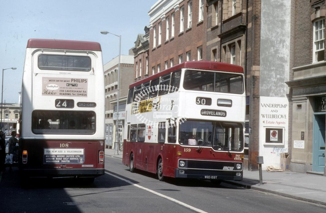 Reading MCW DR102/8 159 WRD159T at Reading Town centre in 1980 - 29373 - Harry Hay