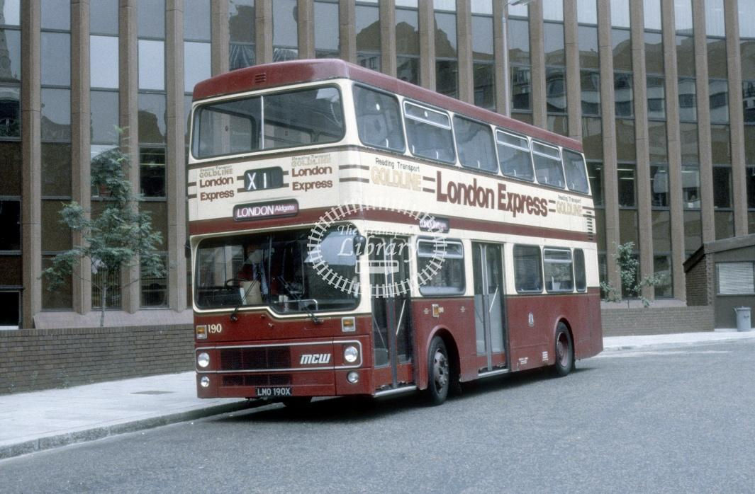 Reading MCW DR102/25 190 LMO190X at London Aldgate Bus Stn in 1983 - Aug 83 - Harry Hay