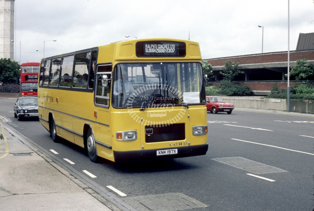 Ralph's Coaches Ford R1114 XNK197X at London Heathrow in 1982 - May 1982 - Harry Hay