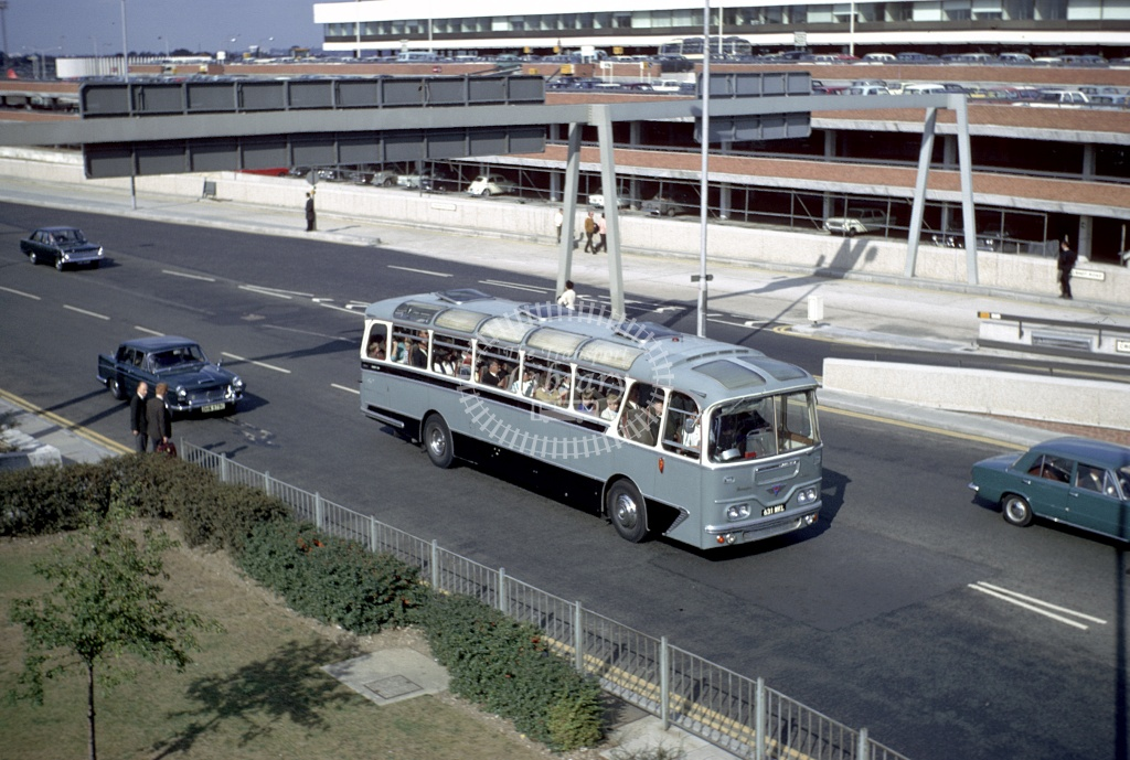 White of Edgware AEC Reliance 651MML at London Heathrow in 1969 - 27607 - Harry Hay