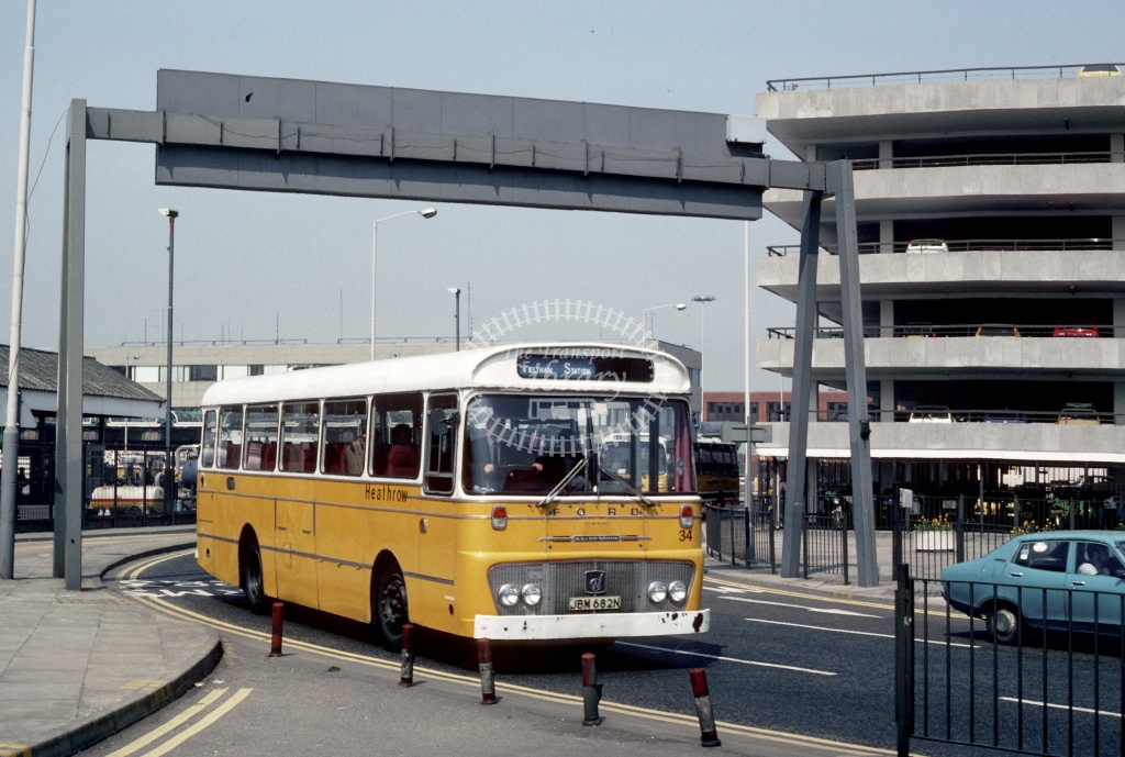 White of Edgware Ford R1114 JBM682N at London Heathrow in 1982 - May 1982 - Harry Hay