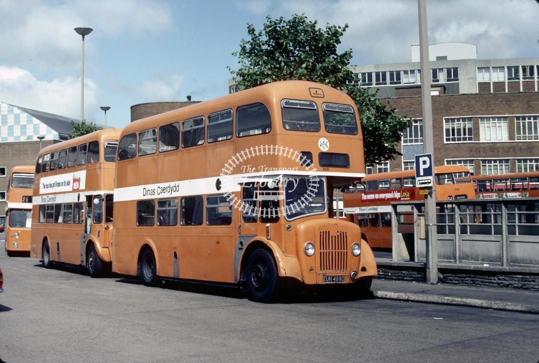 Cardiff Guy Arab V 469 EUH469D at Cardiff Bus Stn in 1978 - Aug-78 - Harry Hay