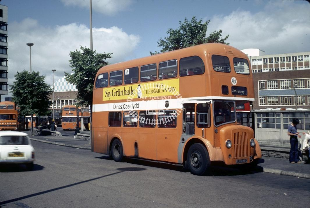 Cardiff Guy Arab V 465 EUH465D at Cardiff Bus Stn in 1978 - Aug-78 - Harry Hay
