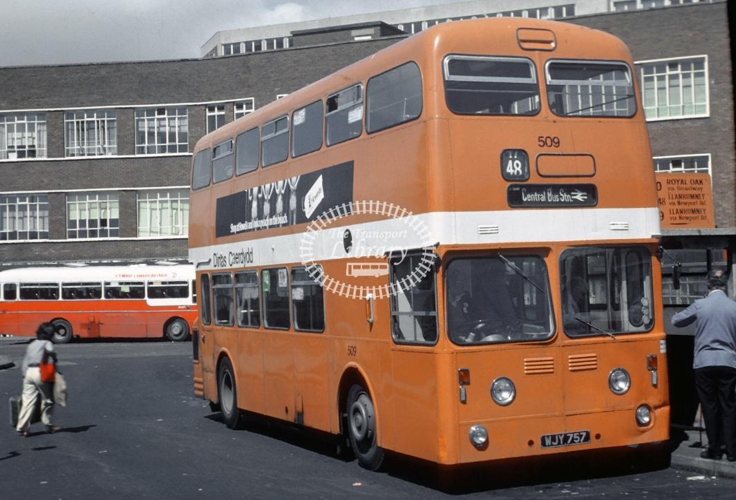 Cardiff Leyland PDR1/1 509 WJY757 at Cardiff Bus Stn in 1978 - Jul-78 - Harry Hay