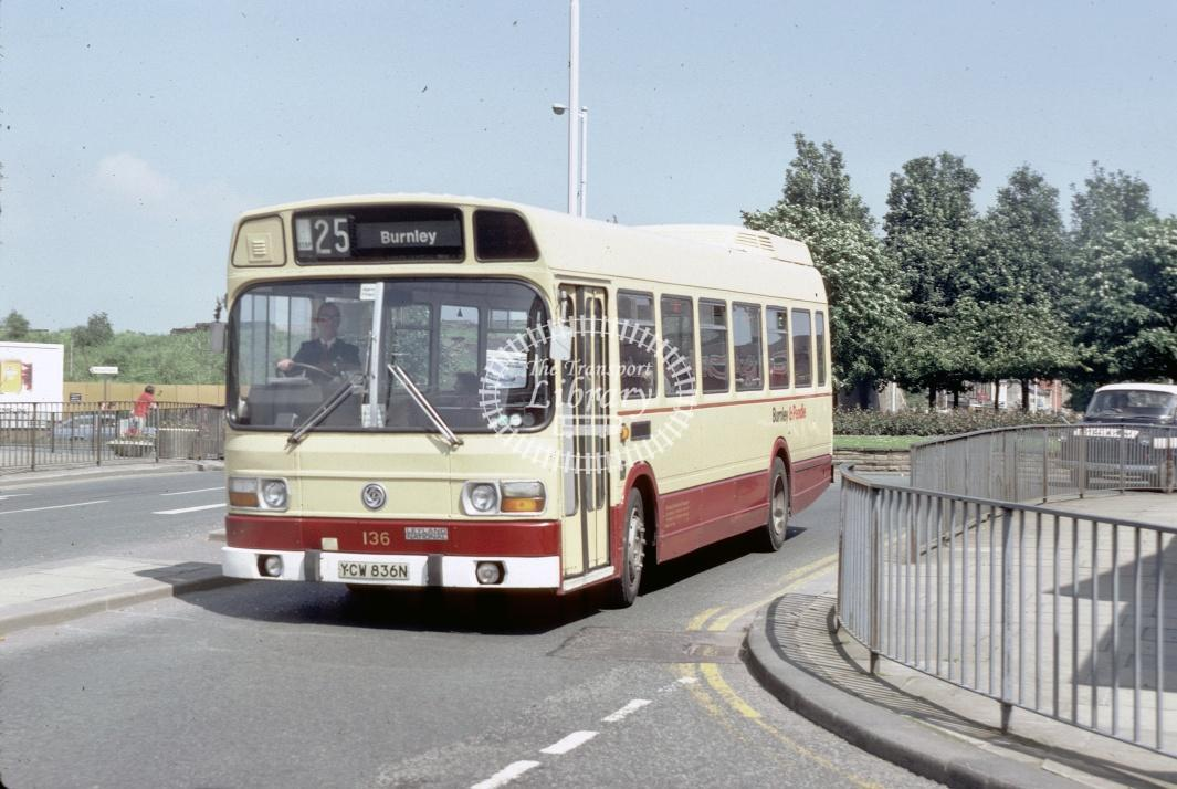 Burnley and Pendle Leyland National 136 YCW836N at Burnley area in 1981 - 29738 - Harry Hay